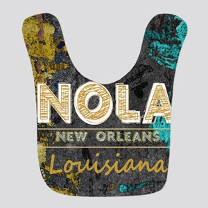 NOLA New Orleans Black Gold Turquoise Grunge Bib