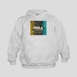 NOLA New Orleans Black Gold Turquoise Kids Hoodie