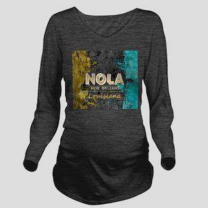 NOLA New Orleans Bla Long Sleeve Maternity T-Shirt