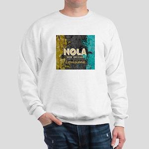 NOLA New Orleans Black Gold Turquoise G Sweatshirt
