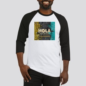 NOLA New Orleans Black Gold Turquo Baseball Jersey