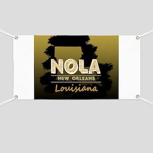 NOLA Black Brush over Gold Black Shaded Banner