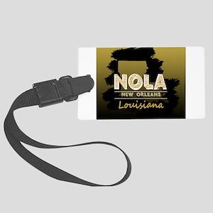 NOLA Black Brush over Gold Black Large Luggage Tag