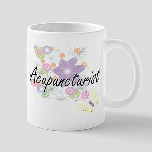 Acupuncturist Artistic Job Design with Flower Mugs