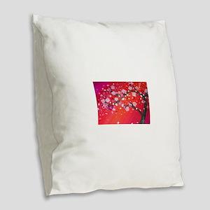 Vibrant Blossom Burlap Throw Pillow