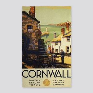 Cornwall, England Vintage Travel Poster Area Rug