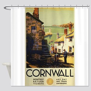 Cornwall, England Vintage Travel Po Shower Curtain