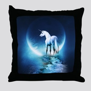White Unicorn Throw Pillow