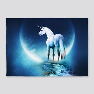 White Unicorn 5'x7'Area Rug
