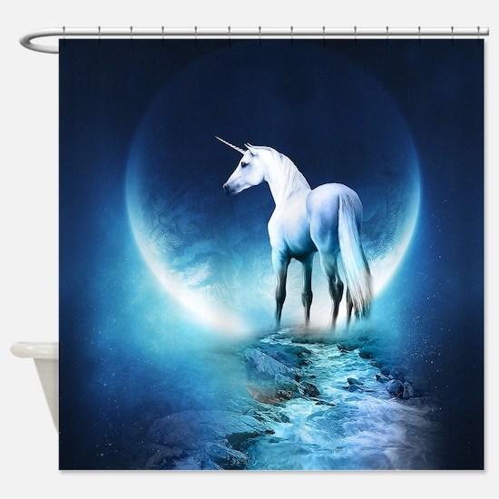 White Unicorn Shower Curtain