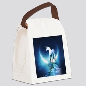 White Unicorn Canvas Lunch Bag
