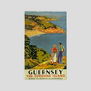 Guernsey Vintage Travel Poster Area Rug