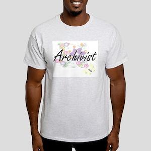 Archivist Artistic Job Design with Flowers T-Shirt