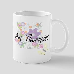 Art Therapist Artistic Job Design with Flower Mugs
