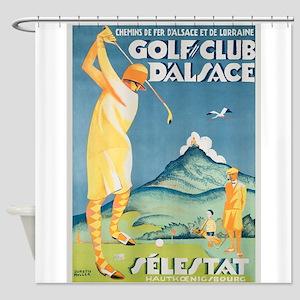 Golfer, Golf, Lady, Vintage Poster Shower Curtain