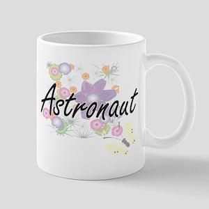 Astronaut Artistic Job Design with Flowers Mugs