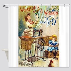 Sewing Machine, Vintage Poster Shower Curtain