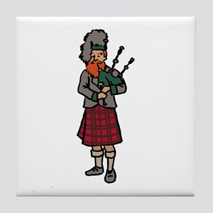 Scottish Bagpiper Tile Coaster