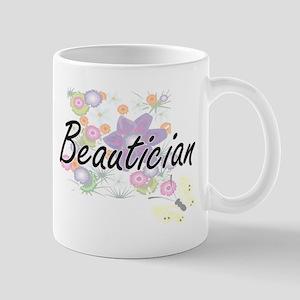 Beautician Artistic Job Design with Flowers Mugs