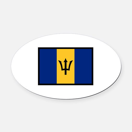 Flag Of Barbados Oval Car Magnet