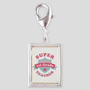 Super 1st Grade Teacher Silver Portrait Charm