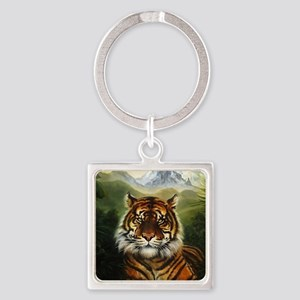 Jungle Tiger Landscape Square Keychain