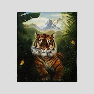 Jungle Tiger Landscape Throw Blanket