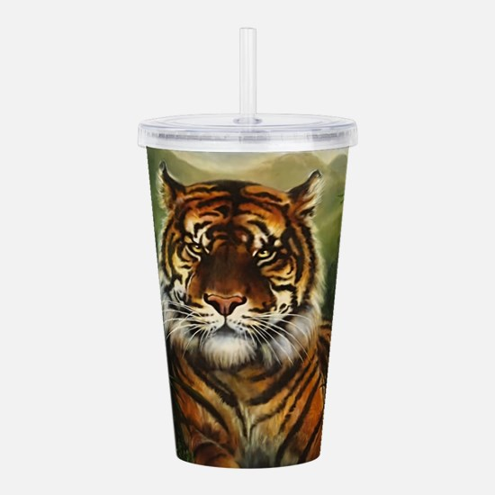 Jungle Tiger Landscape Acrylic Double-wall Tumbler