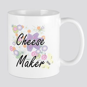 Cheese Maker Artistic Job Design with Flowers Mugs