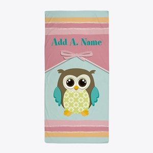 Personalized Gift For Kids Owl Bow Beach Towel