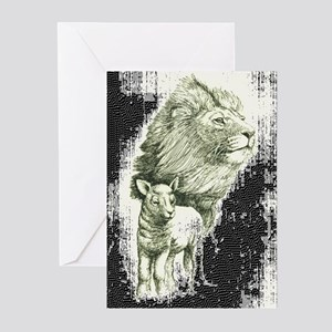Lion and the lamb Greeting Cards