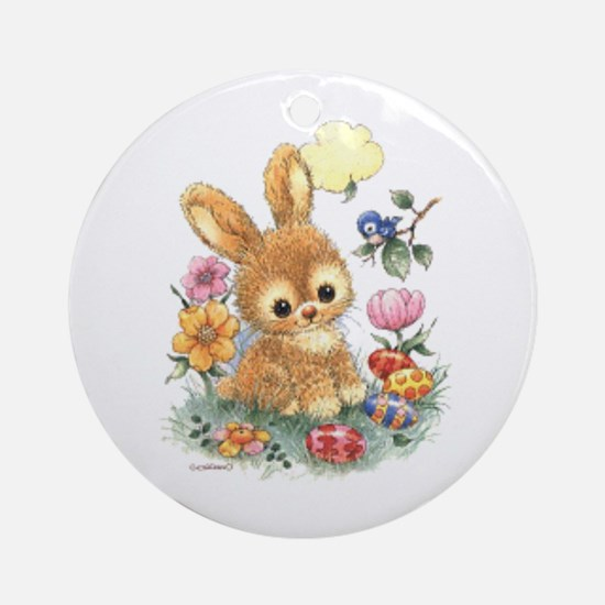 Cute Easter Bunny With Flowers And Round Ornament