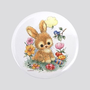 Cute Easter Bunny With Flowers And Eggs Button
