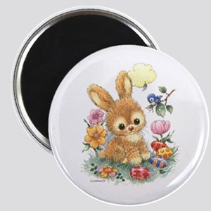 Cute Easter Bunny With Flowers And Eggs Magnets