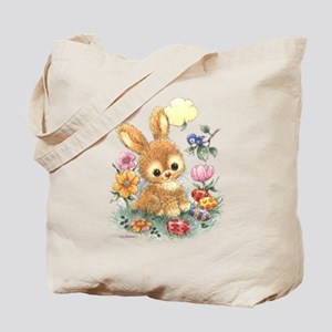 Cute Easter Bunny With Flowers And Eggs Tote Bag