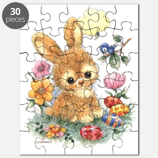 Cute Easter Bunny With Flowers And Eggs Puzzle