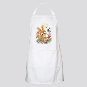 Cute Easter Bunny With Flowers And Eggs Apron