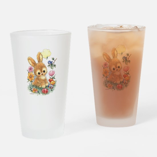 Cute Easter Bunny With Flowers And Drinking Glass