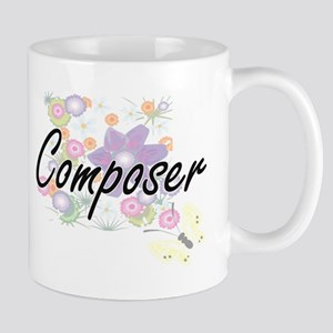 Composer Artistic Job Design with Flowers Mugs