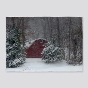 Red Barn in the Snow 5'x7'Area Rug