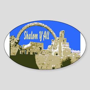 Shalom Y'all Jerusalem Oval Sticker