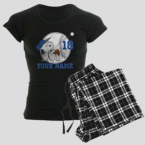 Snoopy Baseball - Personaliz Women's Dark Pajamas
