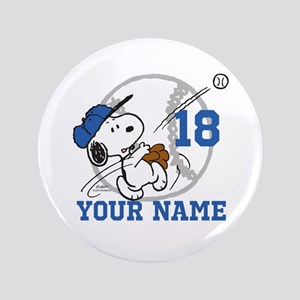 Snoopy Baseball - Personalized Button