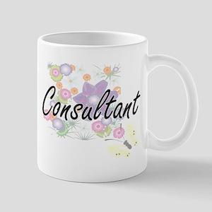 Consultant Artistic Job Design with Flowers Mugs
