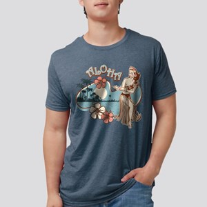 Aloha Hula Girl Mens Tri-Blend Shirt T-Shirt