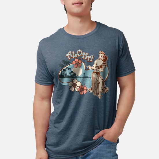 Aloha Hula Girl Mens Tri-Blend Shirt T-Shirt