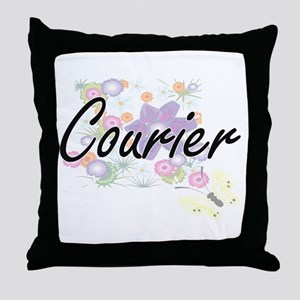 Courier Artistic Job Design with Flow Throw Pillow