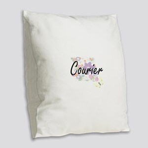 Courier Artistic Job Design wi Burlap Throw Pillow
