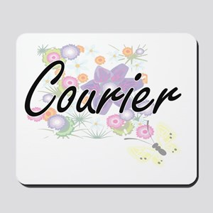 Courier Artistic Job Design with Flowers Mousepad