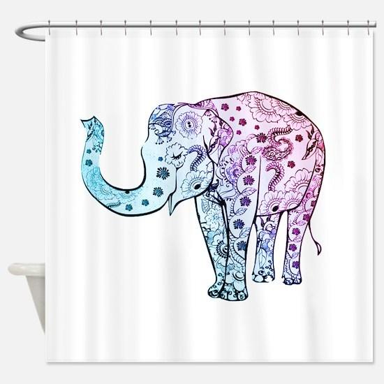 Unique Black white elephant Shower Curtain